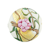Murano Glass Bead Peony Lampwork Disc 23mm White and Pink with 24kt Gold Foil