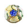 Murano Glass Bead Peony Lampwork Disc 23mm White and Blue with 24kt Gold Foil