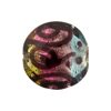 Green, Aqua & Pink Silver Foil Picasso, 20mm Disc, Murano Glass Bead