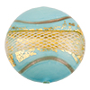 Reticello Disc Opaque Turquoise with Gold and White Reticello, 30mm