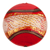 Reticello Disc Opaque Red with Gold and White Reticello, 30mm