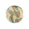 Aqua, Aventurina 24kt Gold Foil Sospire, 20mm White Base Disc, Murano Glass Bead