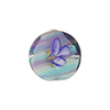 Murano Glass Lampwork Bead Blue, Aqua, Plum with Flowers Disc 16mm