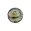 Black & 24kt Gold Filigrana Disc 17mm Lampwork Murano Glass Bead