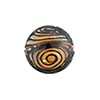 Black & Maroon with 24kt Gold Filigrana Disc 17mm Lampwork Murano Glass Bead