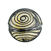 Black & 24kt Gold Filigrana Disc 23mm Lampwork Murano Glass Bead