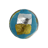 Vicenza Murano Glass Disc Bead, 18mm, Turquoise w/Gold and Silver Foil