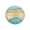 Disc 20mm Turquoise with Reticello and 24kt Gold Foil Murano Glass Bead