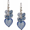 Blue Murano Glass Heart with Swarovski Dangles Earrings Sterling Silver Earwires