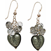 Steel Gray Murano Glass Heart with Swarovski Dangles Earrings Sterling Silver Earwires