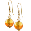 Murano Glass Earrings Bicolor Round Earrings - Topaz/Light Topaz