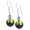 Murano Glass Earrings Bicolor Round Earrings - Green/Cobalt