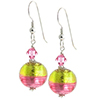 Murano Glass Earrings Bicolor Round Earrings - Green/Rubino