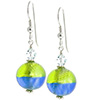Murano Glass Earrings Bicolor Round Earrings - Green Blue