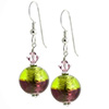 Murano Glass Earrings Bicolor Round Earrings - Green and Amethyst