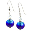 Murano Glass Earrings Bicolor Round Earrings - Aqua & Cobalt