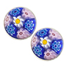 Pastel Pink and Blue Millefiori Cabochon Post Earrings, Sterling Silver Murano Glass Jewelry