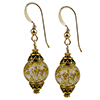 Crystal Cracked Gold Foil Murano Glass Round Earrings with Gold Fill Ear Wires