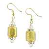 Crystal Gold Foil Murano Glass Cube Earrings with Swarovski Crystals and Gold Fill Ear Wires
