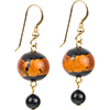 Black with a Topaz Sash Fall Murano Glass Earrings, Gold Fill Earwires