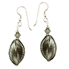 Steel Gray White Gold Foil Earrings with Murano Glass Beads, Swarovski and Sterling Silver Ear Wires