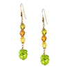 Murano Glass Twisted Green with Gold Fill Ear Wires and Swarovski Crystals