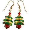 Murano Glass Christmas Tree Earrings Decorated with Exterior Gold Foil and Colors