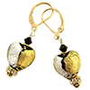 Black with Gold and Silver Foil Murano Glass Heart Earrings, Crystals and Gold Fill Ear Wires