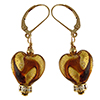 Topaz Swirls over 24kt Gold Foil Murano Glass Heart Earrings, Crystals and Gold Fill Ear Wires