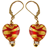 Red Swirls over 24kt Gold Foil Murano Glass Heart Earrings, Crystals and Gold Fill Ear Wires