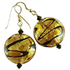 Topaz Encased 24kt Gold Foil with Black Swirl Authentic Murano Glass Earrings