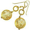 Gold Foil Dichroic Venetian Bead Earrings Murano Glass Beads, Gold Fill Ear Wires
