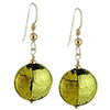 Pezzi, Green over Gold and Silver Murano Glass Earrings Sterling Silver Ear Wires
