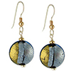 Pezzi, Blue over Gold and Silver Murano Glass Earrings Sterling Silver Ear Wires