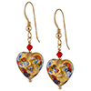 Murano Glass Heart Earrings, Klimt Heart Earring - Gold