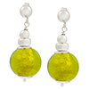 Herb Green Murano Glass Silver Foil Dangle Earrings Sterling Silver Post