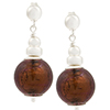 Chocolate Murano Glass Silver Foil Dangle Earrings Sterling Silver Post