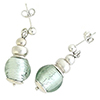Light Steel Murano Glass Silver Foil Dangle Earrings Sterling Silver Post