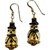 Gold Foil and Black Lampwork Murano Glass Snowmen Earrings with Gold Fill Ear Wires