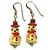 Gold Foil and Red Lampwork Murano Glass Snowmen Earrings with Gold Fill Ear Wires