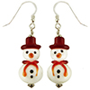Red Hat White Snowman Murano Glass Earrings with Sterling Silver Ear Wires