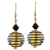 Spirale Earrings - Black Spirals over 24kt Gold Foil Murano Glass Beads, Gold fill Ear Wires