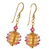 Spirale Earrings - Pink Spirals over 24kt Gold Foil Murano Glass Beads, Gold fill Ear Wires