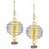 Spirale Earrings - Plum Purple Spirals over 24kt Gold Foil Murano Glass Beads