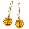 Spirale Earrings - Topaz Spirals over 24kt Gold Foil Murano Glass Beads, Gold fill Ear Wires