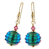 Spirale Earrings - Pink Spirals over Aqua 24kt Gold Foil Murano Glass Beads, Gold fill Ear Wires