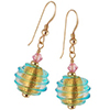 Spirale Earrings - Aqua Spirals over 24kt Gold Foil Murano Glass Beads, Gold fill Ear Wires