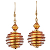 Spirale Earrings - Red Spirals over 24kt Gold Foil Murano Glass Beads, Gold fill Ear Wires