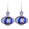 Cobalt and Rubino Mouth Blown Murano Glass with Sterling Silver Ear Wires and Swarovski Crystals