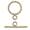 Gold Plated Twisted Toggle Clasp, 12.6mm, Per Set